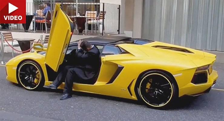 видеоприкол с Lamborghini Aventador Roadster в Лондоне