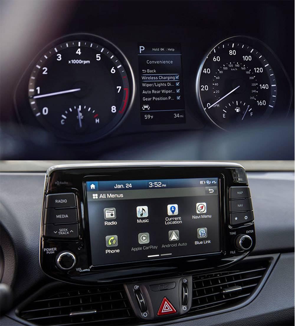 фото прибрной панели и мультимедийной системы Hyundai Elantra GT 2017-2018 года
