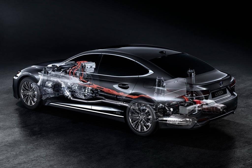 размещение основных узлов и агрегатов Lexus LS 500h 2017-2018 года