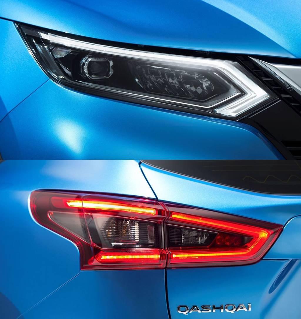 фото фар и габаритных фонарей Nissan Qashqai 2017-2018 года