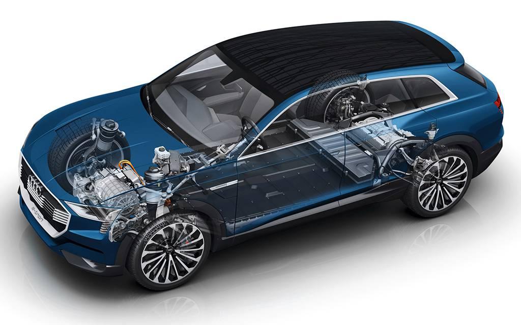 основные узлы и агрегаты премиального кроссовера Audi Q6 E-Tron Quattro 2017-2018 года